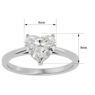 1.41 Carat Heart Shape Diamond Solitaire Ring In 14 Karat White Gold