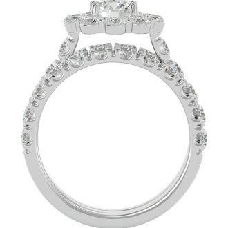 4 1/4 Carat Round Shape Diamond Bridal Set With Two Bands In 14 Karat White Gold