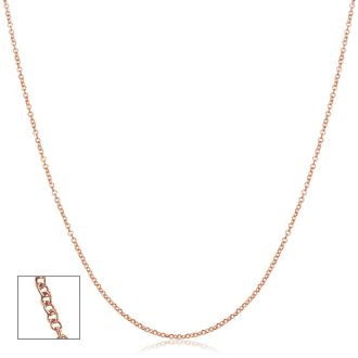 14 Karat Rose Gold 1mm Cable Chain, 20 Inches