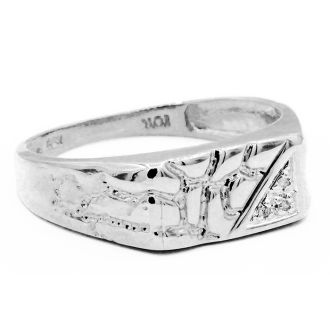 White Gold and Diamond Mens Nugget Ring