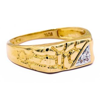 Yellow Gold and Diamond Mens Nugget Ring