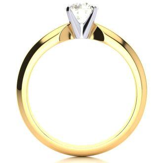 1/2 Carat Round Diamond Engagement Ring in 14K Yellow Gold