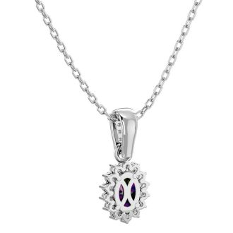 1 Carat Oval Shape Mystic Topaz and Diamond Necklace In 14 Karat White Gold, 18 Inches