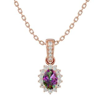 1 Carat Oval Shape Mystic Topaz and Diamond Necklace In 14 Karat Rose Gold, 18 Inches