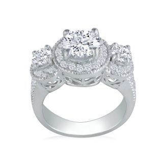 2 3/4 Carat Halo Three Diamond Ring in 14k White Gold