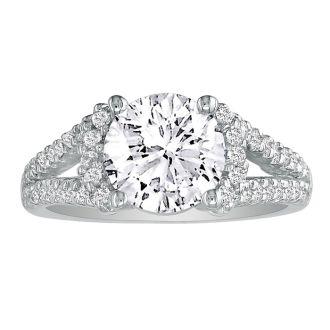2 1/3 Carat Halo Diamond Engagement Ring in 14 Karat White Gold, Split Shank