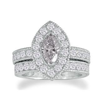 2 Carat Marquise Halo Diamond Bridal Set in 14k White Gold