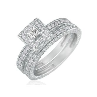 1 Carat Princess Shape Diamond Bridal Set in 14k White Gold