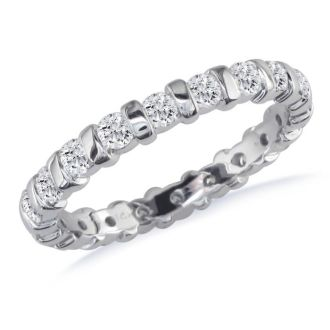 2ct Bar Set Eternity Band in 14k White Gold, G/H, SI1 , 7 and 7.5
