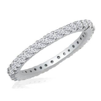 1 Carat Round Diamond Eternity Ring In 14 Karat White Gold, Ring Size 4