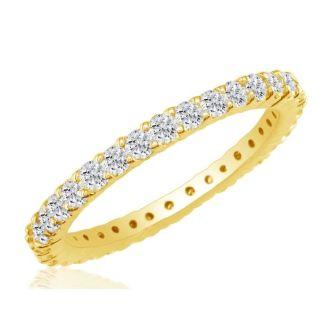 1 Carat Round Diamond Eternity Ring In 14 Karat Yellow Gold, Ring Size 4