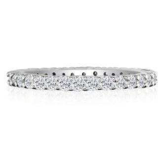 1 Carat Round Diamond Eternity Ring In Platinum, Ring Size 4