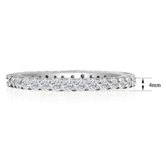 1 3/4 Carat Round Diamond Eternity Ring In 14 Karat White Gold, Ring Size 4