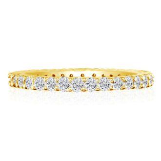 1 3/4 Carat Round Diamond Eternity Ring In 14 Karat Yellow Gold, Ring Size 4