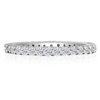 1 3/4 Carat Round Diamond Eternity Ring In Platinum, Ring Size 4