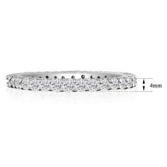 1 3/4 Carat Round Diamond Eternity Ring In 14 Karat White Gold, Ring Size 4.5