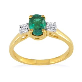 1ct Emerald and Diamond Ring in 14k Yellow Gold
