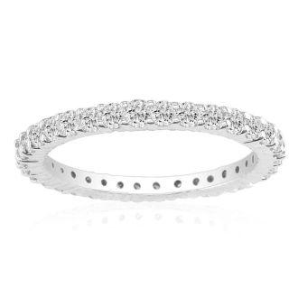 2 1/4 Carat Round Diamond Eternity Ring In 14 Karat White Gold, Ring Size 4.5