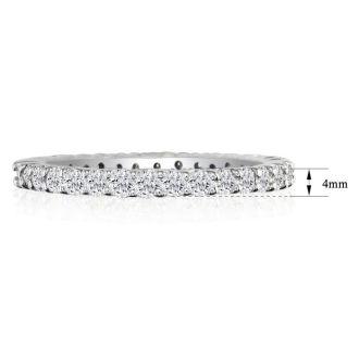 2 1/4 Carat Round Diamond Eternity Ring In 14 Karat White Gold, Ring Size 4