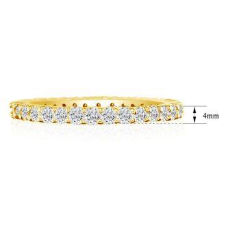 2 1/4 Carat Round Diamond Eternity Ring In 14 Karat Yellow Gold, Ring Size 4
