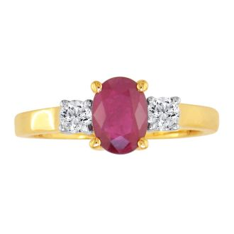 1.20ct Fine Quality Ruby and Diamond Ring in 14k Yellow Gold