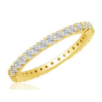 2.80 Carat Round Diamond Eternity Ring In 14 Karat Yellow Gold, Ring Size 4