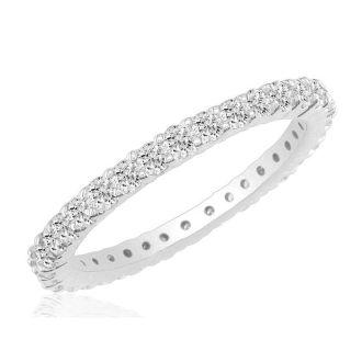3 1/4 Carat Round Diamond Eternity Ring In Platinum, Ring Size 4