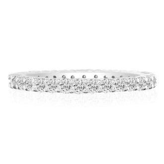 3 1/4 Carat Round Diamond Eternity Ring In 14 Karat White Gold, Ring Size 4