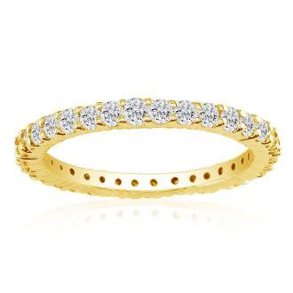 3 1/2 Carat Round Diamond Eternity Ring In 14 Karat Yellow Gold, Ring Size 6