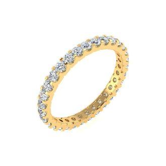 1 Carat Round Diamond Comfort Fit Eternity Ring In 14 Karat Yellow Gold, Ring Size 4