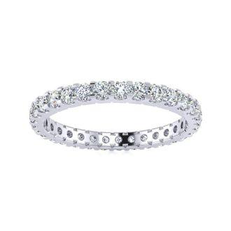 1 Carat Round Diamond Comfort Fit Eternity Ring In 14 Karat White Gold, Ring Size 4