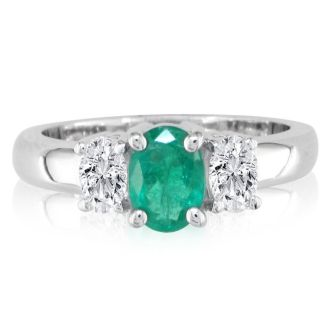 1/2ct Oval Emerald and 1/4ct Oval Diamond Ring in 14k White Gold
