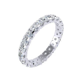 1 3/4 Carat Round Diamond Comfort Fit Eternity Ring In 14 Karat White Gold, Ring Size 4.5