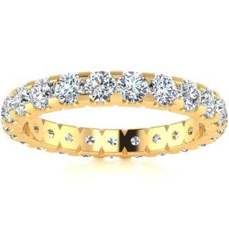 1 3/4 Carat Round Diamond Comfort Fit Eternity Ring In 14 Karat Yellow Gold, Ring Size 4