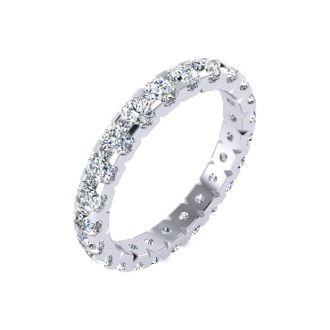 1 3/4 Carat Round Diamond Comfort Fit Eternity Ring In Platinum, Ring Size 4