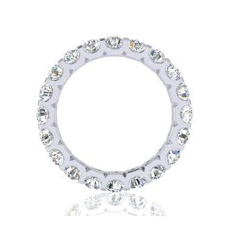 2 1/4 Carat Round Diamond Comfort Fit Eternity Ring In 14 Karat White Gold, Ring Size 4.5