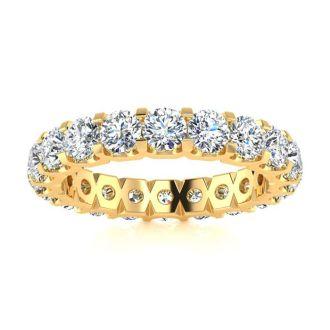 2 1/4 Carat Round Diamond Comfort Fit Eternity Ring In 14 Karat Yellow Gold, Ring Size 4.5