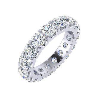 2.80 Carat Round Diamond Comfort Fit Eternity Ring In Platinum, Ring Size 4