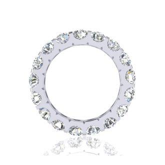 2.80 Carat Round Diamond Comfort Fit Eternity Ring In 14 Karat White Gold, Ring Size 4