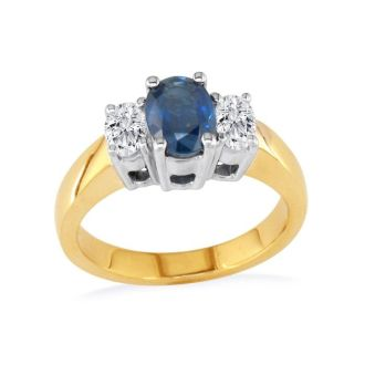 1/2ct Sapphire and Oval Diamond Ring in 14k Yellow Gold
