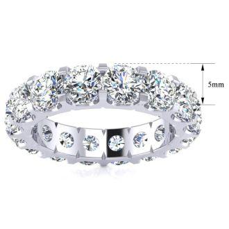 3 1/4 Carat Round Diamond Comfort Fit Eternity Ring In 14 Karat White Gold, Ring Size 4
