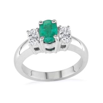 1.50ct Colombian Emerald and Diamond Ring in 14k White Gold