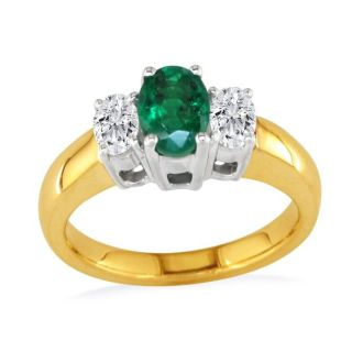 1.50ct Colombian Emerald and Diamond Ring in 14k Yellow Gold