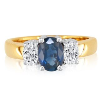 1.50ct Sapphire and Diamond Ring in 14k Yellow Gold