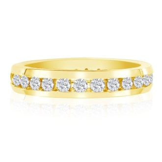 18 Karat Yellow Gold 1 Carat Channel Set Diamond Eternity Band, G-H SI3, Ring Sizes 4 to 9 1/2