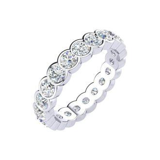 1 1/4 Carat Round Diamond Bezel Set Eternity Ring In 14 Karat White Gold, Ring Size 4