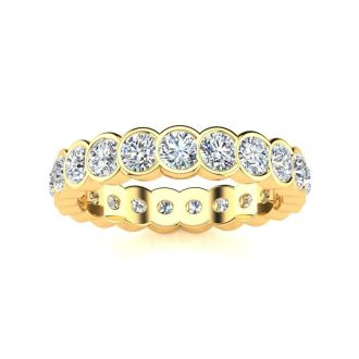 1 1/3 Carat Round Diamond Bezel Set Eternity Ring In 14 Karat Yellow Gold, Ring Size 4.5