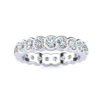 1 1/4 Carat Round Diamond Bezel Set Eternity Ring In Platinum, Ring Size 4