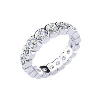 1 3/4 Carat Round Diamond Bezel Set Eternity Ring In 14 Karat White Gold, Ring Size 4