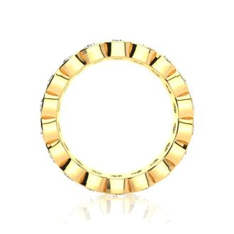1 3/4 Carat Round Diamond Bezel Set Eternity Ring In 14 Karat Yellow Gold, Ring Size 4.5